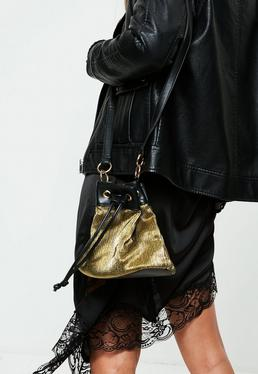 Gold Drawstring Pleated Ruffle Bag