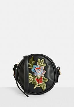 Black Round Floral Cross Body Bag