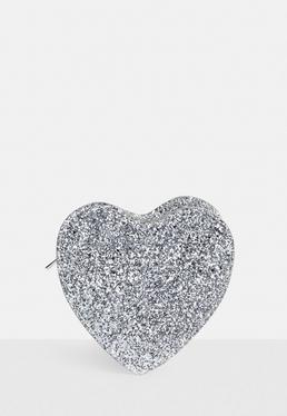 Silver Glitter Heart Clutch Bag
