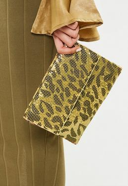 Gold Leopard Print Chain Mail Bag