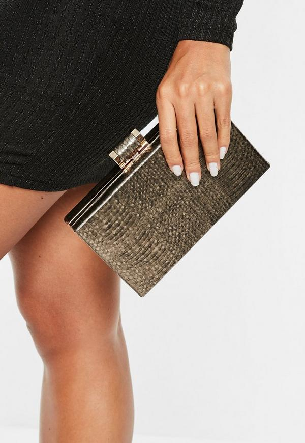 Pewter Metallic Clutch Bag by Missguided