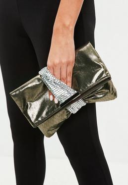 Khaki Metallic Twist Clutch Bag