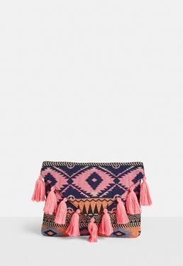 Pink Aztec Tassel Clutch Bag