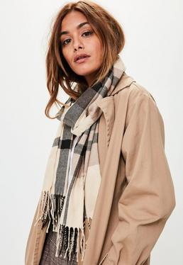 Brown Checkered Long Scarf