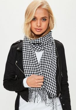 Bufanda larga de pata de gallo en negro