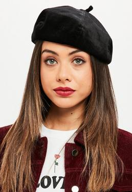Black Velvet Beret Hat