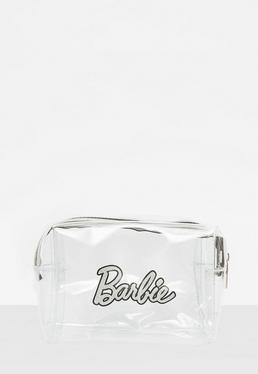 Barbie x Missguided Silver Plastic Glitter Makeup Bag