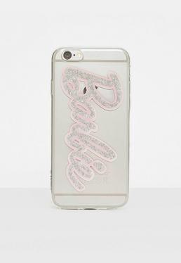 Barbie x Missguided Funda para Iphone 6 con purpurina en transparente