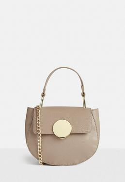 Nude Round Buckle Cross Body Bag