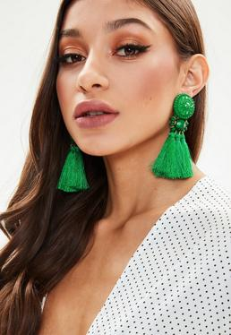 Green Art Deco Tassel Earrings