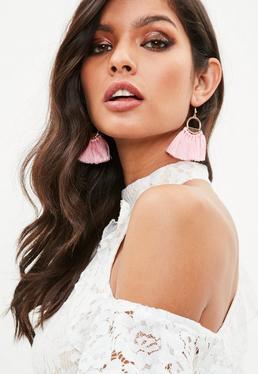 Cream Hoop Fan Tassel Earrings