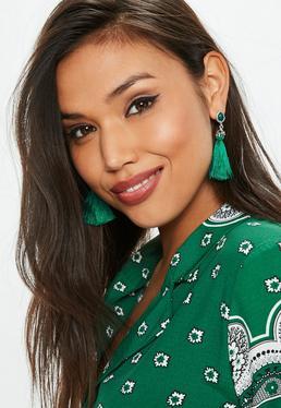 Green Diamante Tassel Earrings