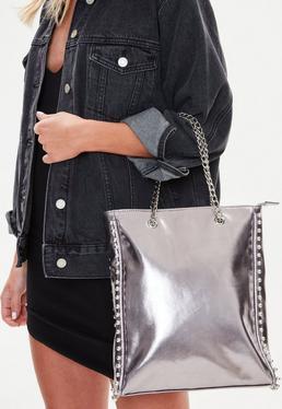 Pewter Beaded Chain Shopper Bag