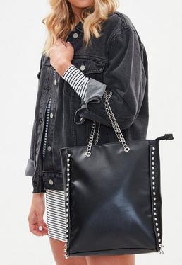 Bolso shopper con asas de cadenas en negro