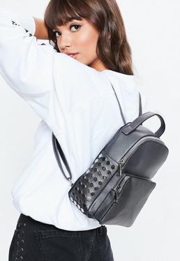 Black Mini Beaded Backpack