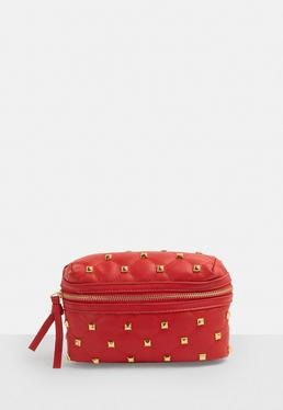 Red Quilted Stud Bum Bag