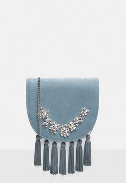 Blue Fringe Embellished Cross Body Bag