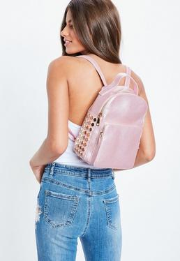 Pink Mini Side Gold Studded Back Pack