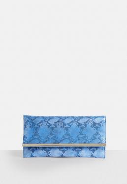 Blue Flat Faux Leather Snake Metal Trim Clutch Bag