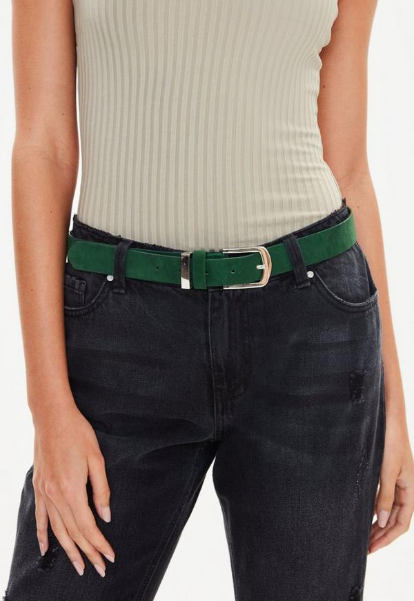 Green Faux Suede Belt by Missguided