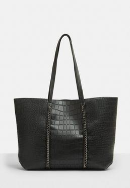 Black Faux Leather Crocodile Textured Shopper Bag