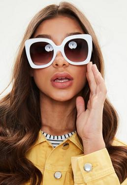 White Oversized Square Frame Sunglasses