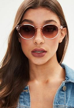 Pink Metal Detail Round Sunglasses