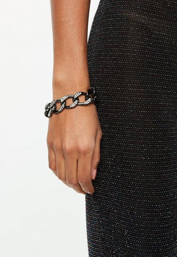 Gunmetal Thick Chain Bracelet Previous Next
