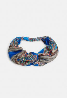 Blue Printed Knot Front Headscarf