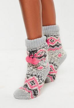 Gray Feather Knitted Pom Pom Socks