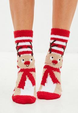 Set regalo Calcetines con renos de felpilla