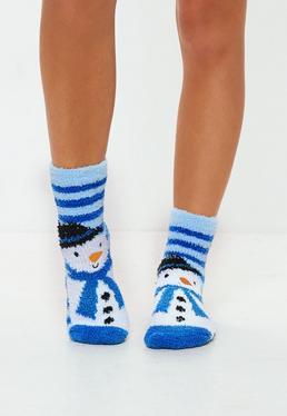 Blue Snowman Gift Boxed Socks