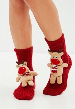 Red Reindeer Boxed Socks