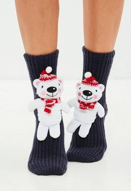 Black 3D Polar Bear Boxed Socks