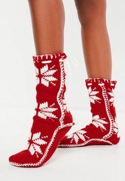 Biało-czerwone grube długie świąteczne skarpetki