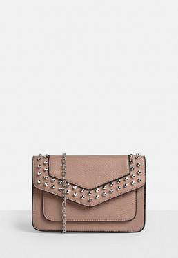 Pink Studded Cross Body Bag