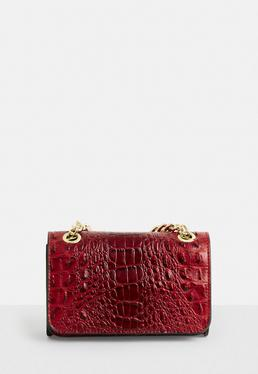 Red Snake Faux Leather Bag