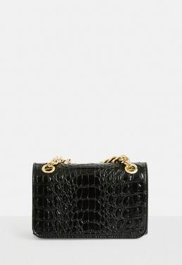Black Mini Faux leather Croc Chain Handle Bag