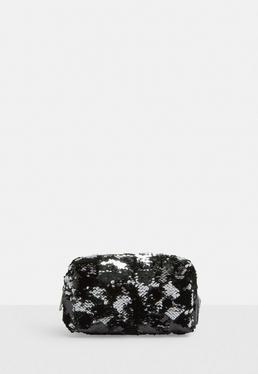 Black Reverse Sequin Make Up Bag