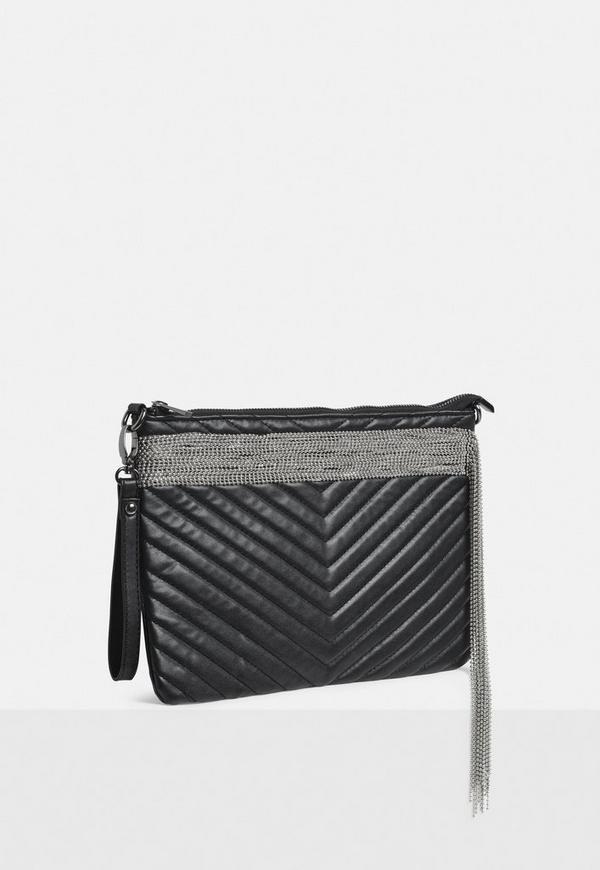 Black Faux Leather Quilted Chain Fringe Clutch Bag Missguided