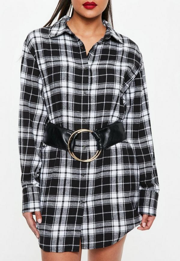 Black Large Ring Detail Belt by Missguided