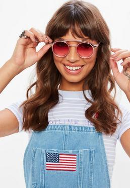Różowe okrągłe okulary przeciwsłoneczne