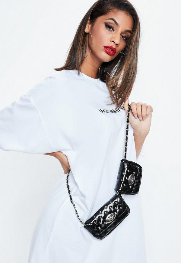 Black Studded Quilted Double Bum Bag by Missguided