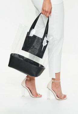Black Colour Block Transparent Shopper Bag
