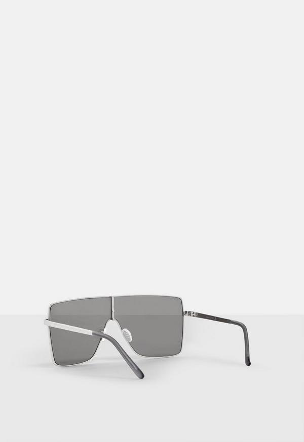 Silver Large Visor Sunglasses by Missguided