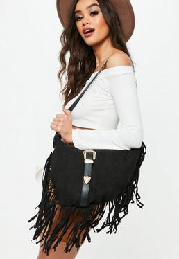 Black Faux Suede Tassel Western Buckle Shoulder Bag