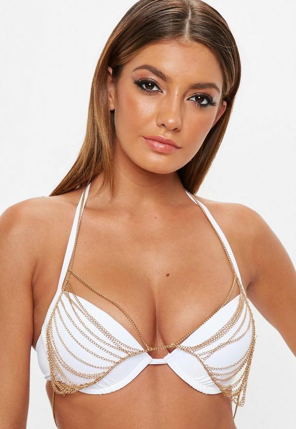 Gold Dropped Chain Bralet by Missguided