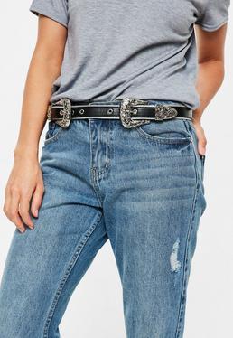 Cinturón con doble hebilla Western en negro