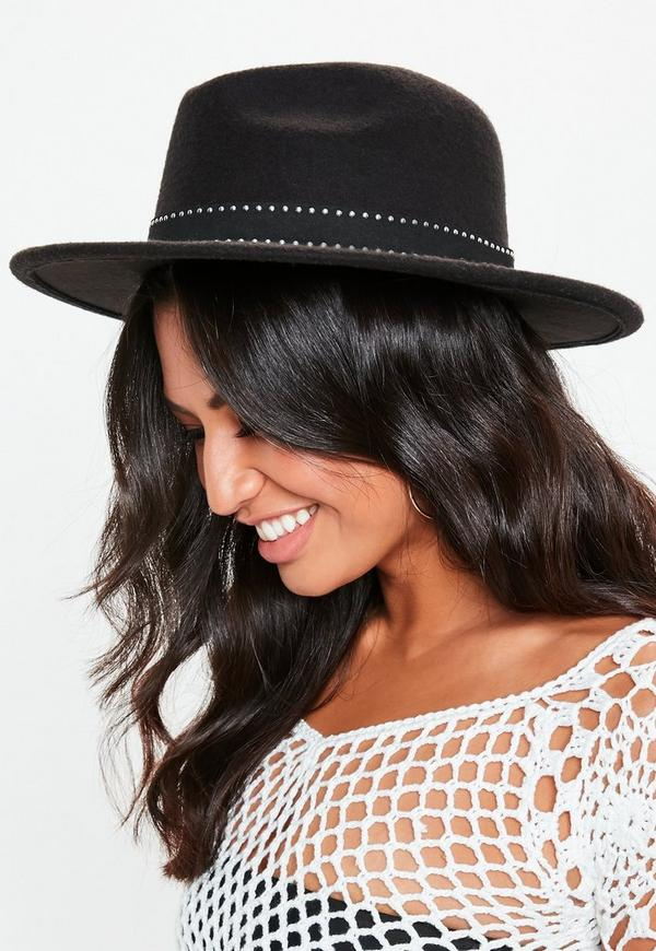 Black Ring Detail Fedora Hat by Missguided