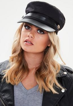 Black Button Detail Military Baker Boy Hat